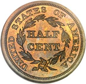 1847 RESTRIKE 1/2C PF reverse