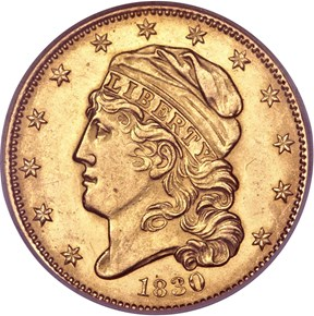 1830 SMALL 5D BD-2 $5 MS obverse