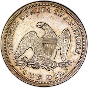 1854 $1 MS reverse