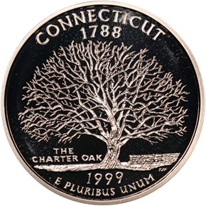 1999 S SILVER CONNECTICUT 25C PF obverse