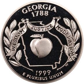 1999 S SILVER GEORGIA 25C PF obverse