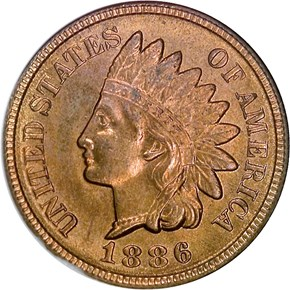 1886 TYPE 2 1C MS obverse