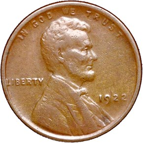 1922 NO D WEAK REVERSE 1C MS obverse