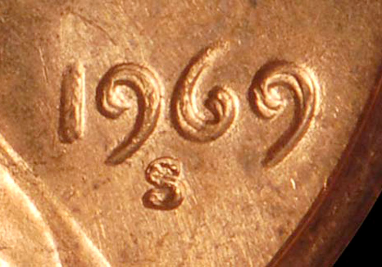 1969 S Doubled Die Obv 1C MS Lincoln Cents, Memorial Reverse
