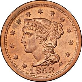 1852 1C MS obverse