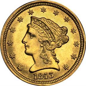 1843 D $2.5 MS obverse