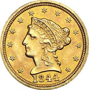 1844 D $2.5 MS obverse