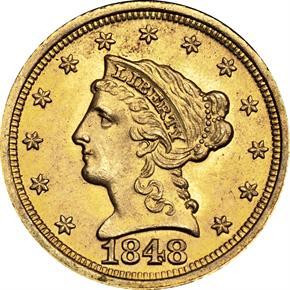 1848 D $2.5 MS obverse