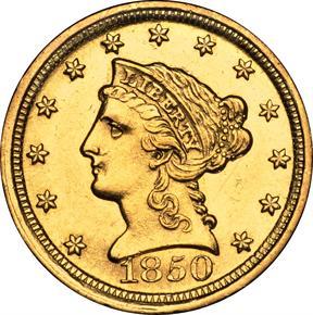 1850 D $2.5 MS obverse
