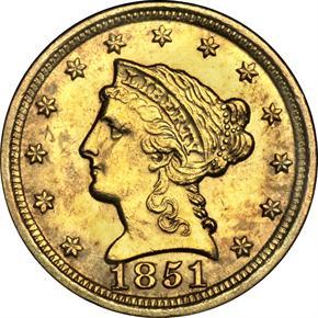 1851 D $2.5 MS obverse