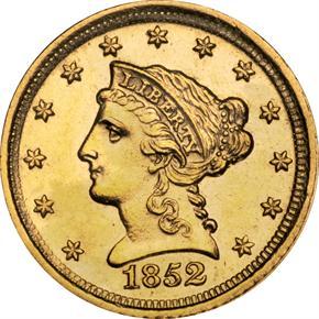 1852 D $2.5 MS obverse