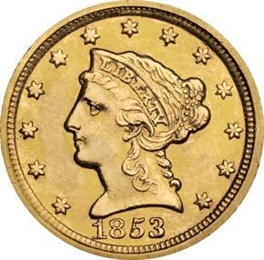 1853 D $2.5 MS obverse