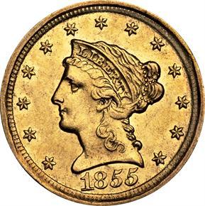 1855 D $2.5 MS obverse