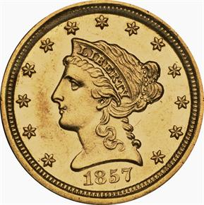 1857 D $2.5 MS obverse