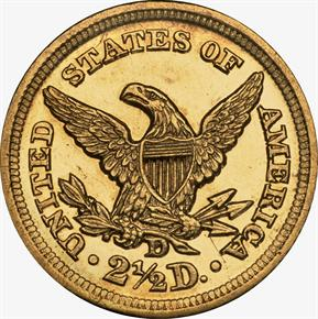 1857 D $2.5 MS reverse