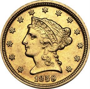 1859 D $2.5 MS obverse
