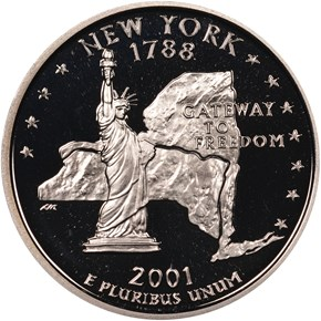 2001 S SILVER NEW YORK 25C PF obverse