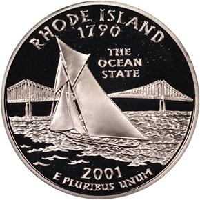 2001 S SILVER RHODE ISLAND 25C PF obverse