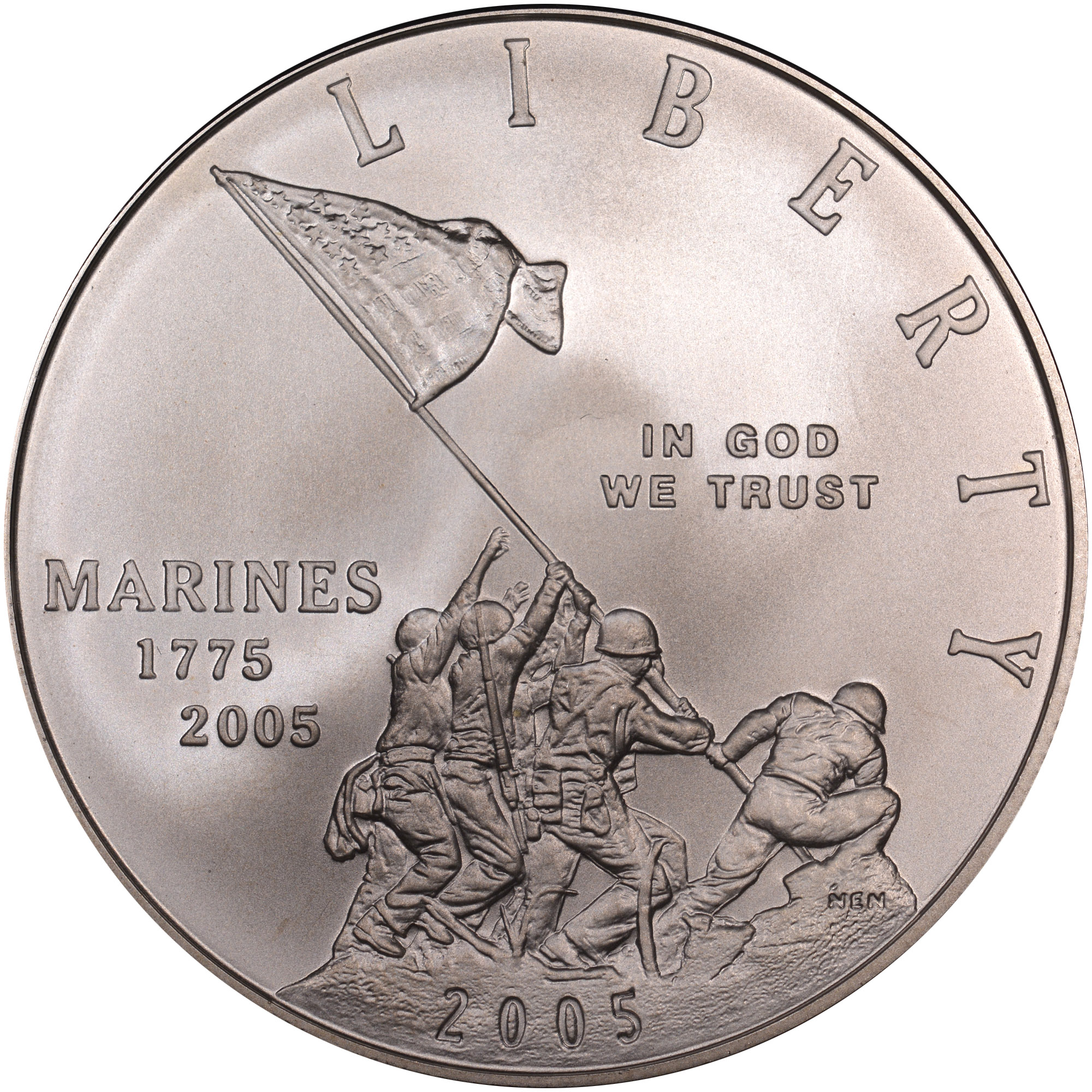 2005 P $1 US Marines Commemorative Uncirculated Silver Dollar NGC MS70