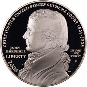 2005 P JOHN MARSHALL S$1 PF obverse