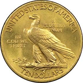 1908 MOTTO $10 MS reverse