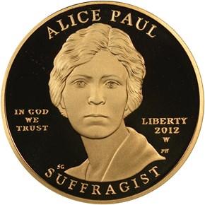 2012 W ALICE PAUL G$10 PF obverse