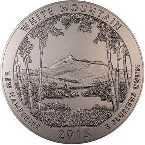 2013 P 5oz SILVER WHITE MOUNTAIN 25C SP obverse