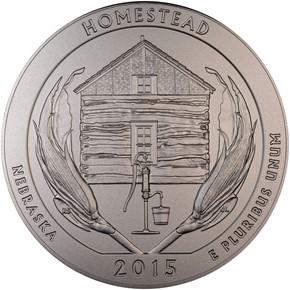 2015 P 5oz SILVER HOMESTEAD 25C SP obverse