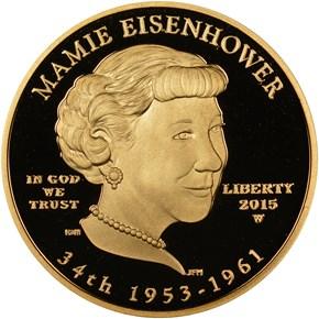 2015 W MAMIE EISENHOWER G$10 PF obverse