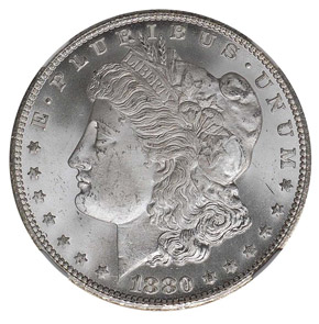 1880 CC REV OF 78 S$1 MS obverse