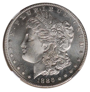 1886 S S$1 MS obverse