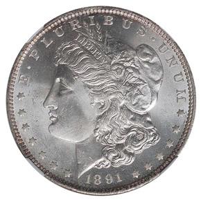 1891 O S$1 MS obverse