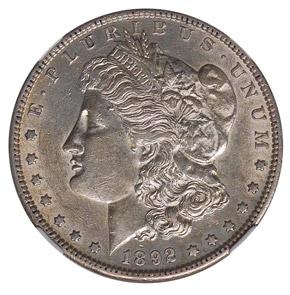 1892 S S$1 MS obverse