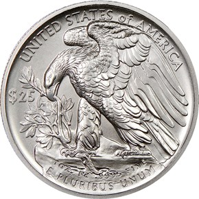 2017 EAGLE HIGH RELIEF Pd$25 MS reverse