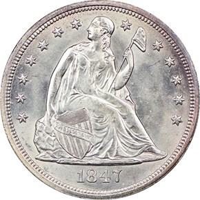 1847 $1 MS obverse