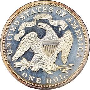 1870 $1 PF reverse