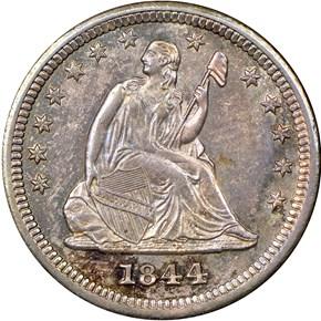 1844 O 25C MS obverse