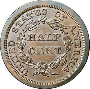1845 ORIGINAL 1/2C PF reverse
