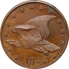 1855 J-167 1C PF obverse