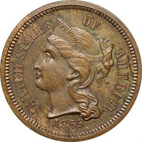 1865 J-411 3CN PF obverse