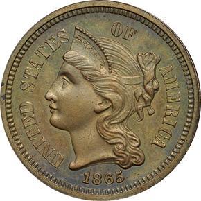 1865 J-413 3CN PF obverse