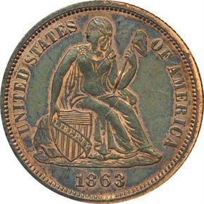 1863 J-333 10C PF obverse