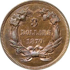 1870 J-1029 $3 PF reverse
