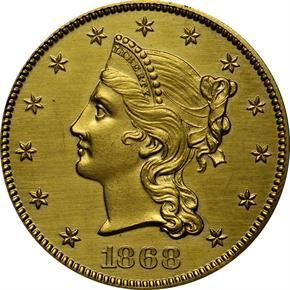 1868 J-662 GILT $10 PF obverse