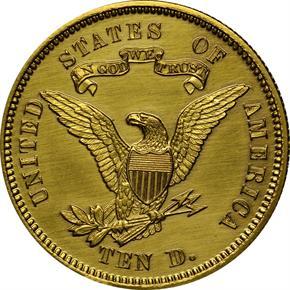 1868 J-662 GILT $10 PF reverse