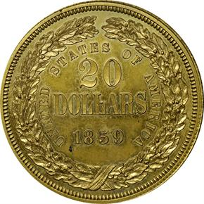 1859 J-257 GILT $20 PF reverse