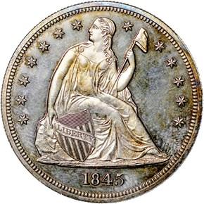 1845 $1 PF obverse