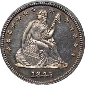 1845 25C PF obverse