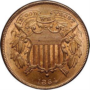 1864 SMALL MOTTO 2C MS obverse