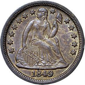 1849 10C MS obverse